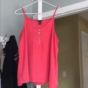 Hot pink tank top with gold zipper
